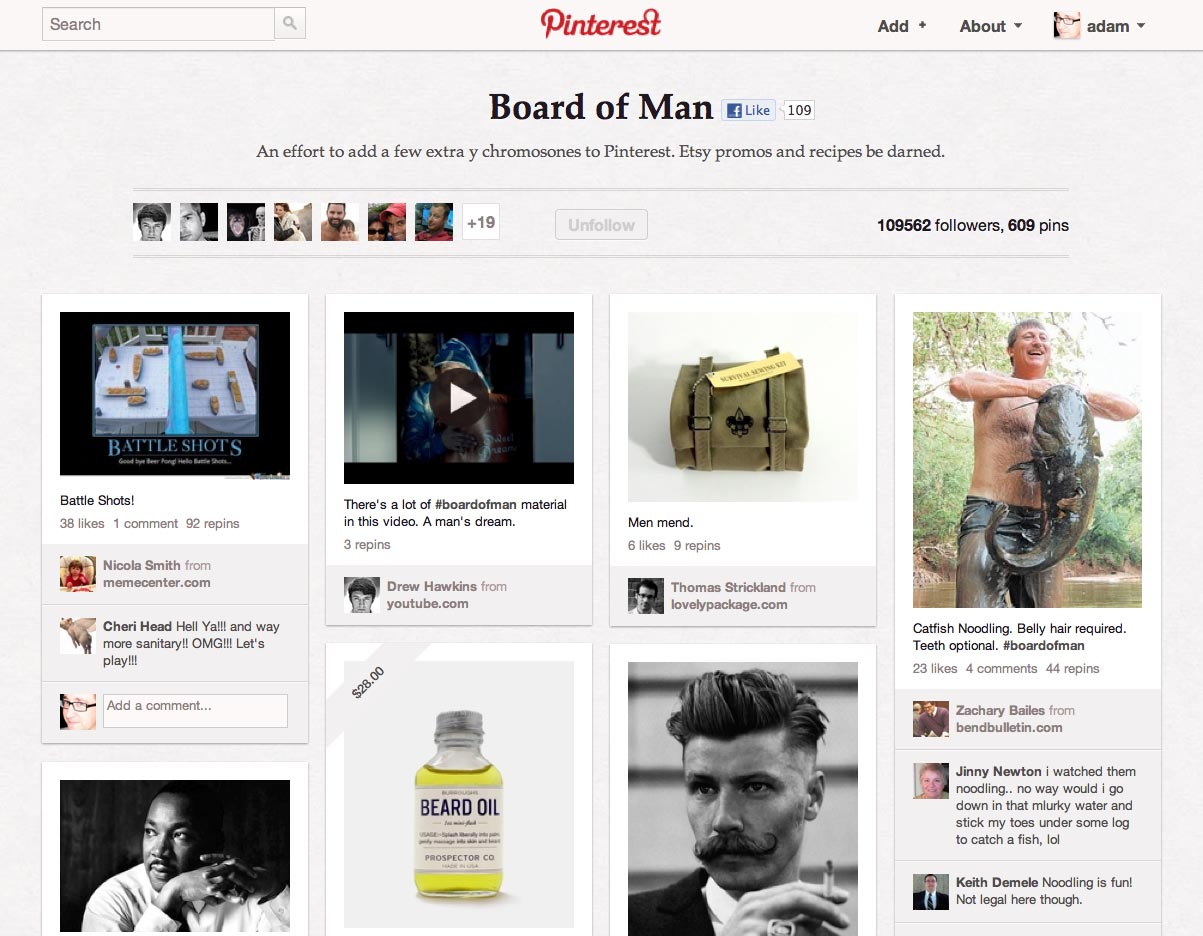 Pinterest Screenshot - Board of Man