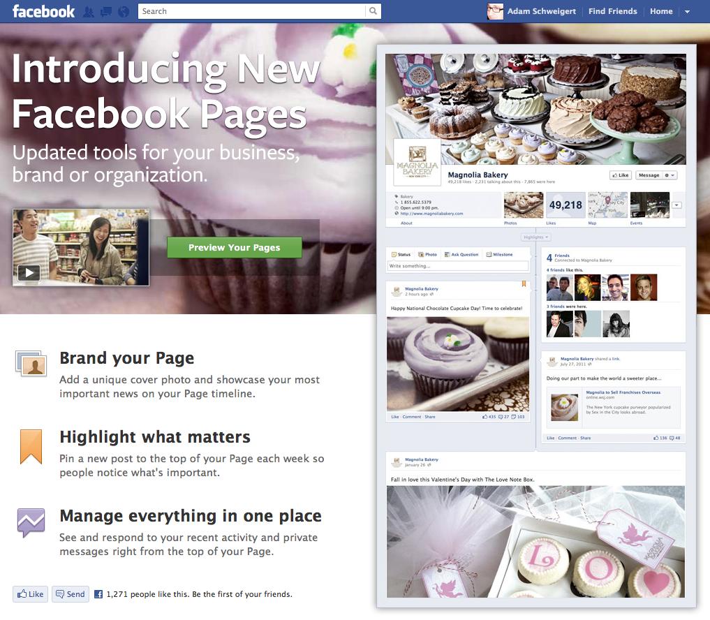 Facebook Timeline for brand pages splash page